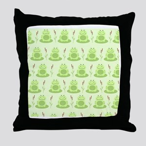 Frog Shower Curtain (Green) Throw Pillow