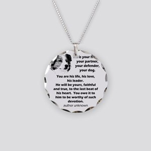 Border Collie Your Friend Necklace Circle Charm