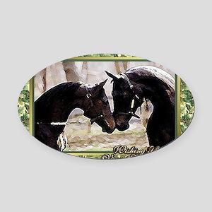 Morgan Horse Christmas Oval Car Magnet