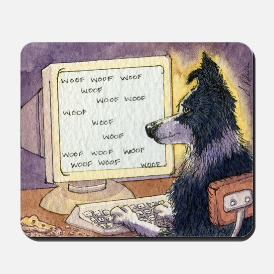 Border Collie dog writer Mousepad