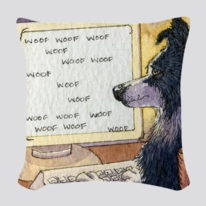 Border Collie dog writer Woven Throw Pillow