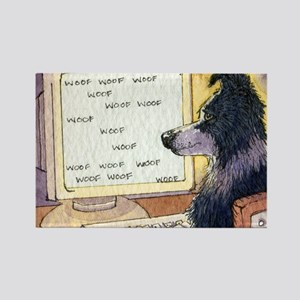 Border Collie dog writer Rectangle Magnet