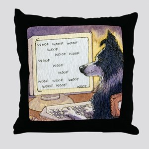 Border Collie dog writer Throw Pillow