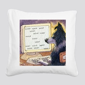 Border Collie dog writer Square Canvas Pillow