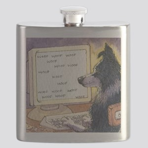 Border Collie dog writer Flask