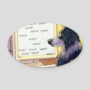 Border Collie dog writer Oval Car Magnet