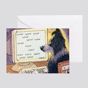 Border Collie dog writer Greeting Card