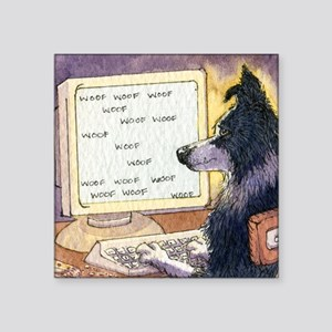 "Border Collie dog writer Square Sticker 3"" x 3"""