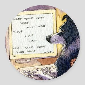 Border Collie dog writer Round Car Magnet