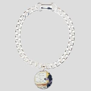 Border Collie dog writer Charm Bracelet, One Charm