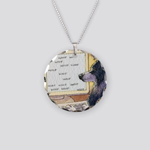 Border Collie dog writer Necklace Circle Charm
