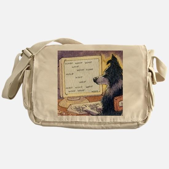 Border Collie dog writer Messenger Bag