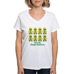 Depression Awareness Ribbon Ducks Women's V-Neck T