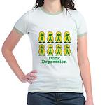 Depression Awareness Ribbon Ducks Jr. Ringer T-Shi