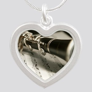 clarinet and Music Case Mens Silver Heart Necklace
