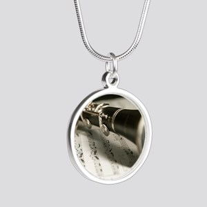 clarinet and Music Case Mens Silver Round Necklace