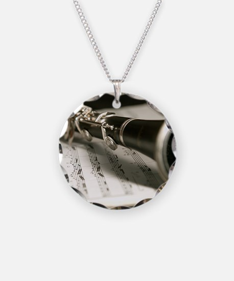 clarinet and Music Case Mens Necklace Circle Charm