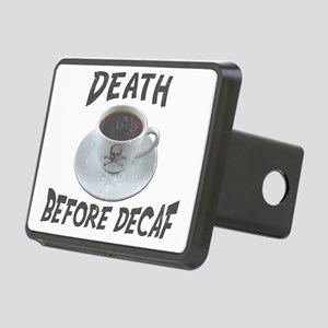 Death Before Decaf Coffee Rectangular Hitch Cover