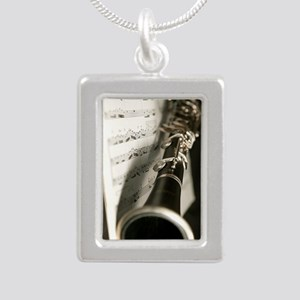 Clarinet and Musc Flip F Silver Portrait Necklace