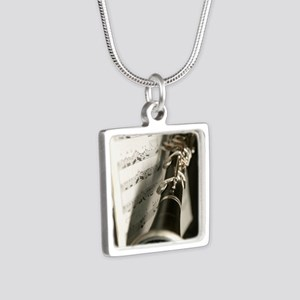 Clarinet and Musc Flip Flo Silver Square Necklace