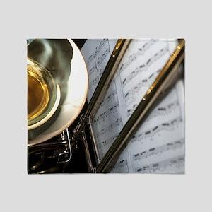 Trombone Music Notes Laptop Skin Throw Blanket