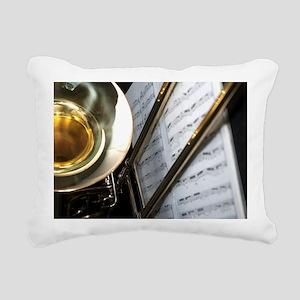 Trombone Music Notes Lap Rectangular Canvas Pillow