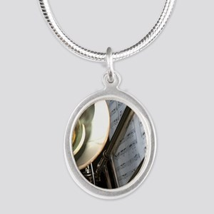 Trombone Music and Notes  Fli Silver Oval Necklace