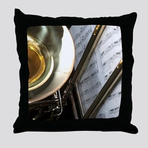 Trombone Music and Notes  Flip Flop Throw Pillow