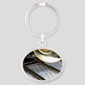Trombone and Music Shirt Oval Keychain