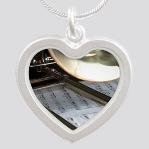 Trombone and Music Shirt Silver Heart Necklace
