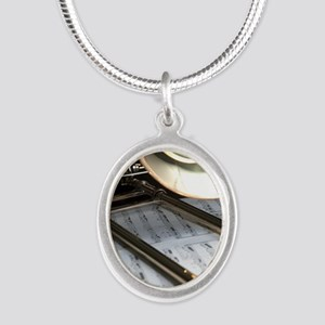 Trombone and Music and Band J Silver Oval Necklace