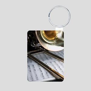 Trombone and Music and Ban Aluminum Photo Keychain
