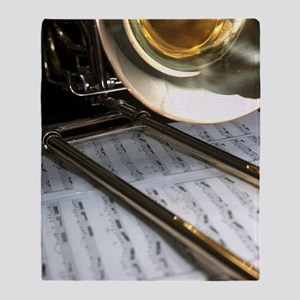 Trombone and Music and Band Journal Throw Blanket