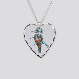 Watercolor Painting Kingfishe Necklace Heart Charm