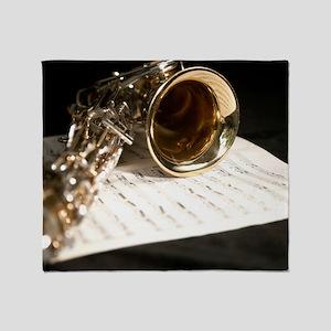 Saxophone Music and Notes Laptop Ski Throw Blanket