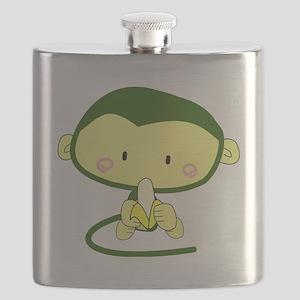 cute baby green monkey with banana Flask