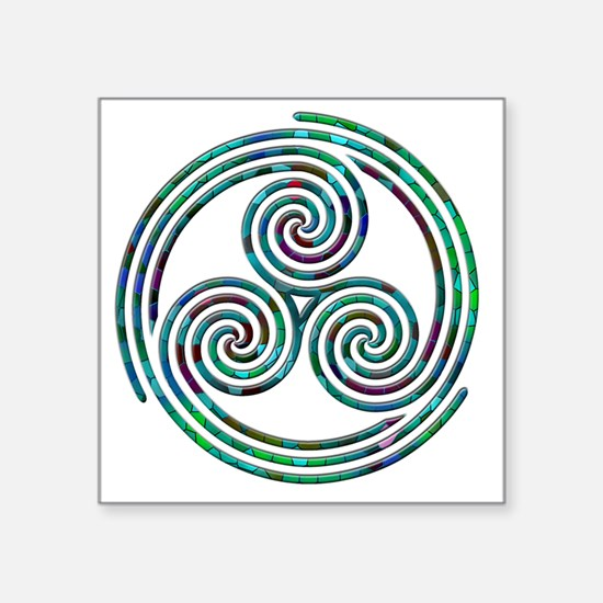 "Triple Spiral - 7 Square Sticker 3"" x 3"""