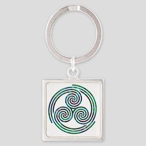 Triple Spiral - 7 Square Keychain