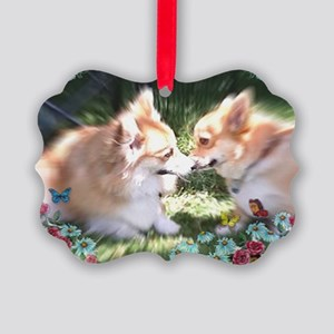 Two Corgis Meet Picture Ornament