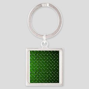 Green Diamond Plate Keychains