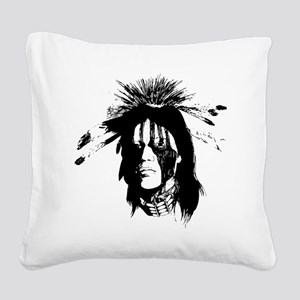 American Indian Warrior with  Square Canvas Pillow