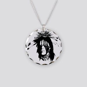 American Indian Warrior with Necklace Circle Charm