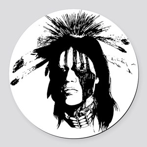 American Indian Warrior with Pain Round Car Magnet