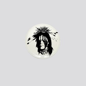 American Indian Warrior with Painted F Mini Button