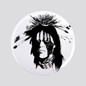 "American Indian Warrior with Painted F 3.5"" Button"