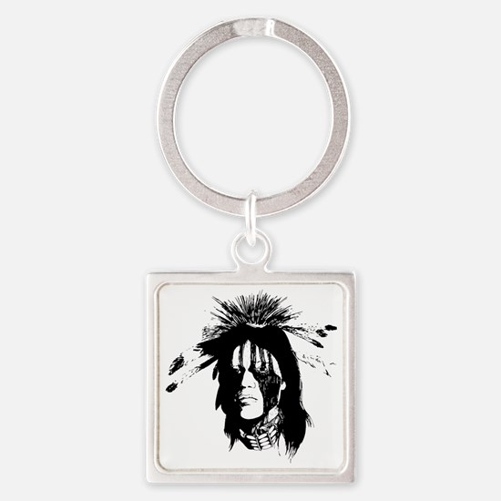 American Indian Warrior with Paint Square Keychain