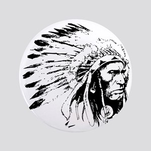 "Native American Chieftain 3.5"" Button"