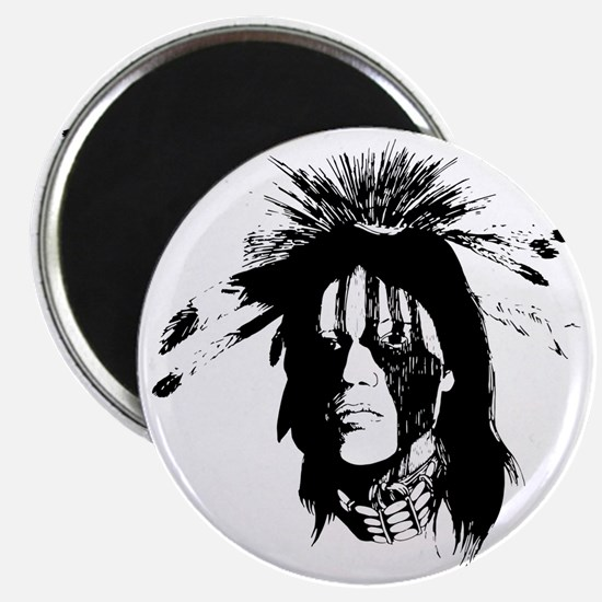 American Indian Warrior with Painted Face Magnet