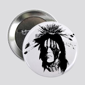"""American Indian Warrior with Painted  2.25"""" Button"""