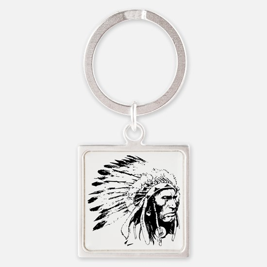 Native American Chieftain Square Keychain